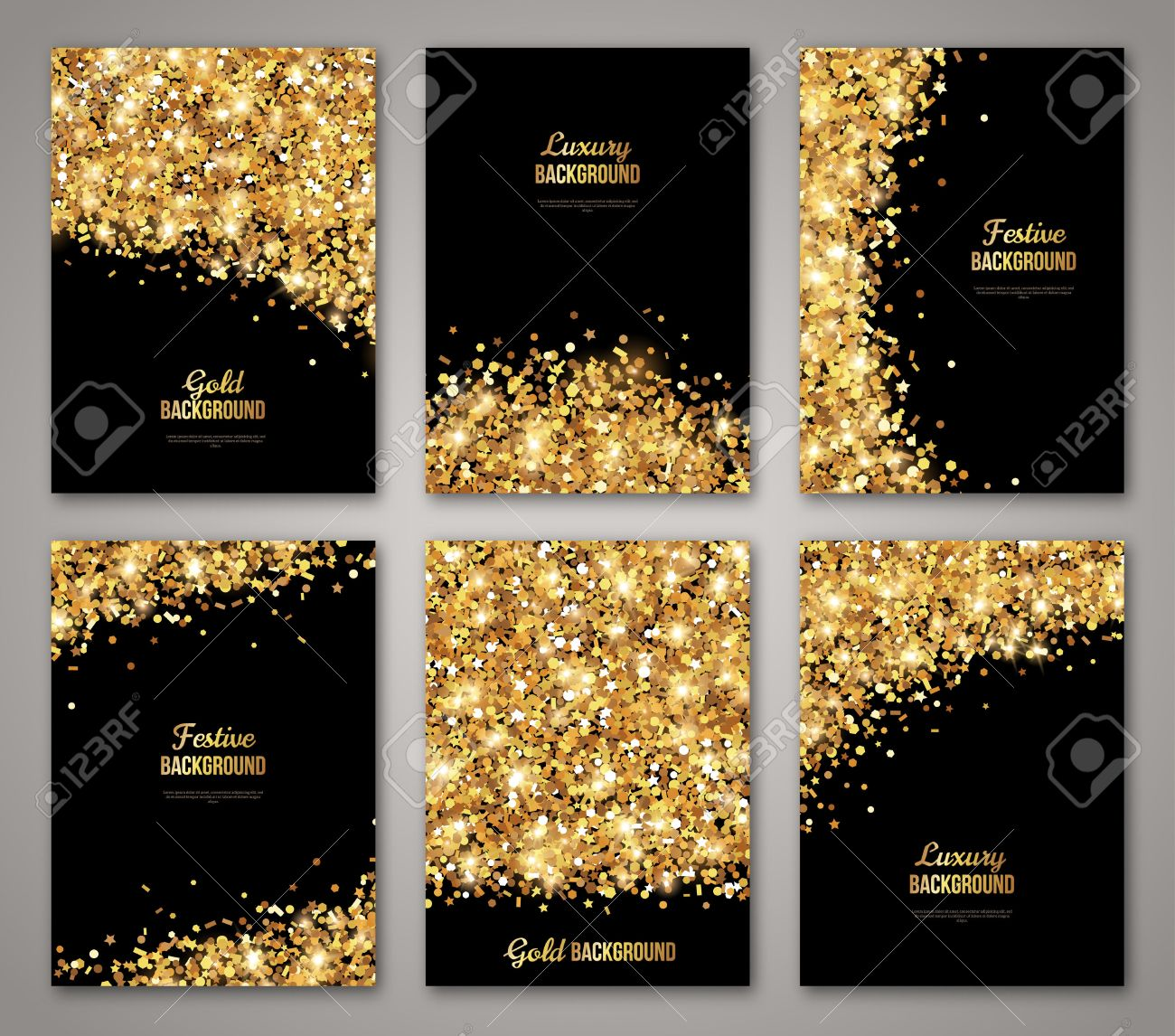 Set of Black and Gold , Greeting Card Design. Golden Dust. Illustration. Happy New Year and Christmas Posters Invitation Template. Place for your Text Message. - 51299263