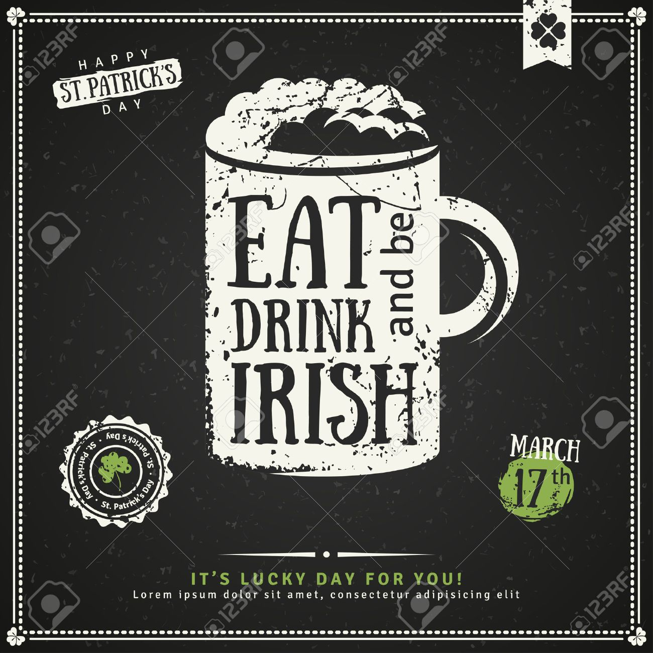 Happy St Patricks Day Greeting Card Illustration Beer Party