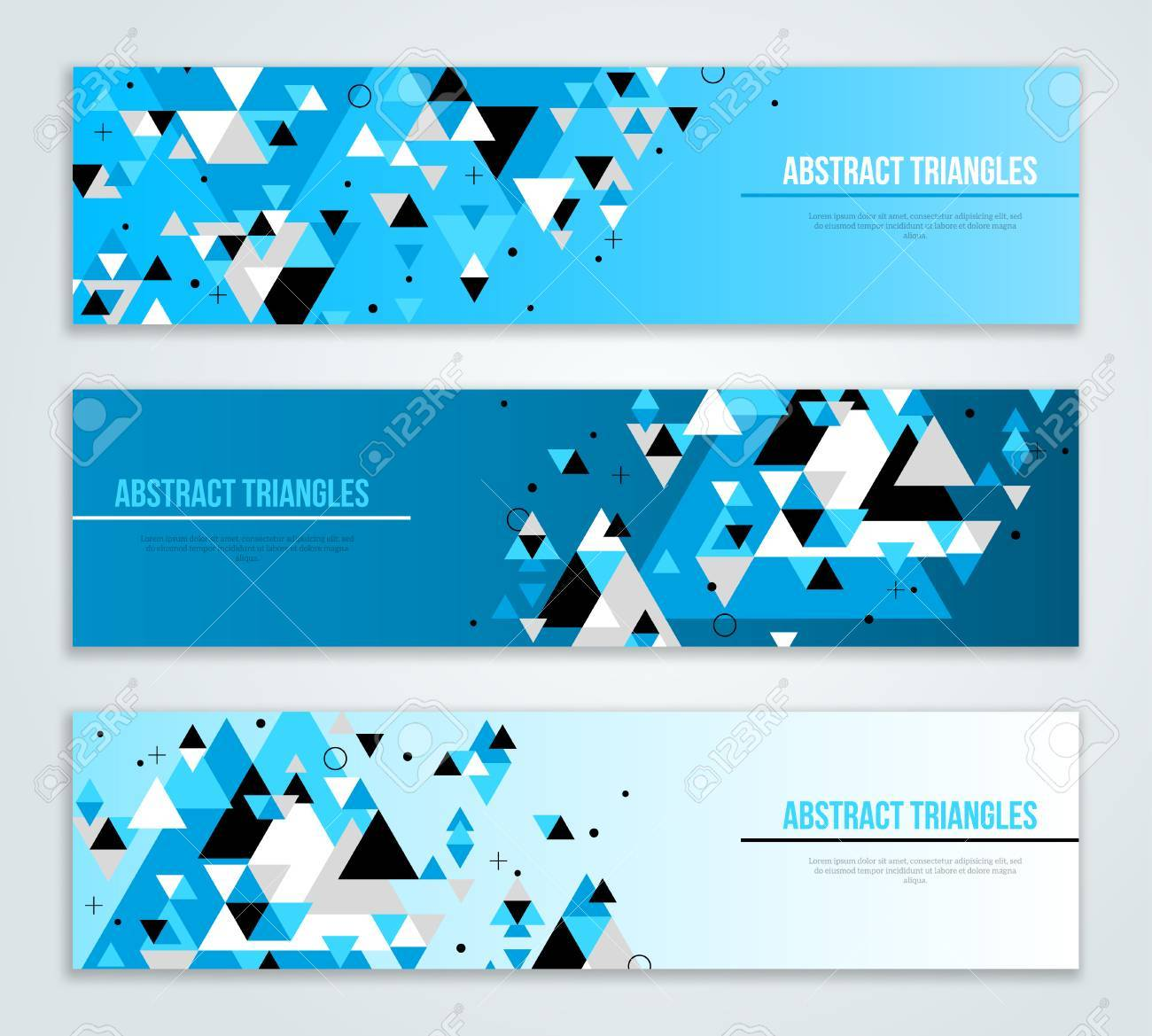 set of abstract web banners with blue geometric triangle shapes