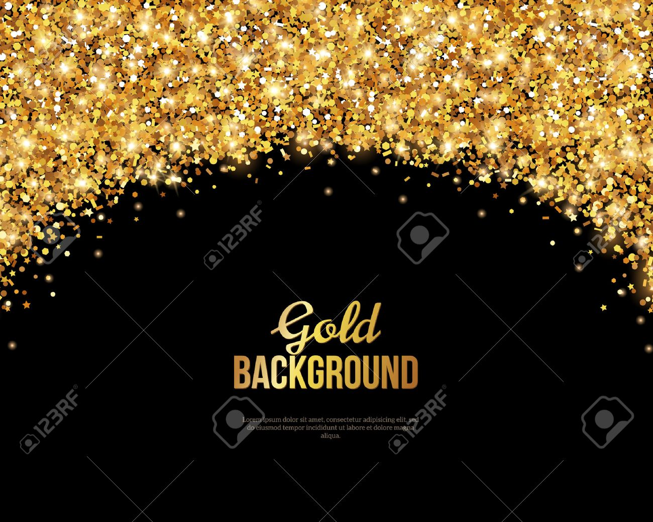 black and gold greeting card design golden dust illustration happy new year