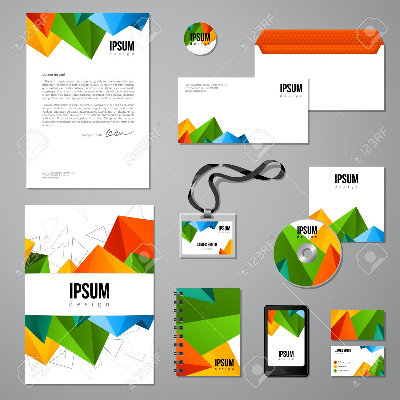 Multicolored Vivid Corporate Identity Template. Company Style ...