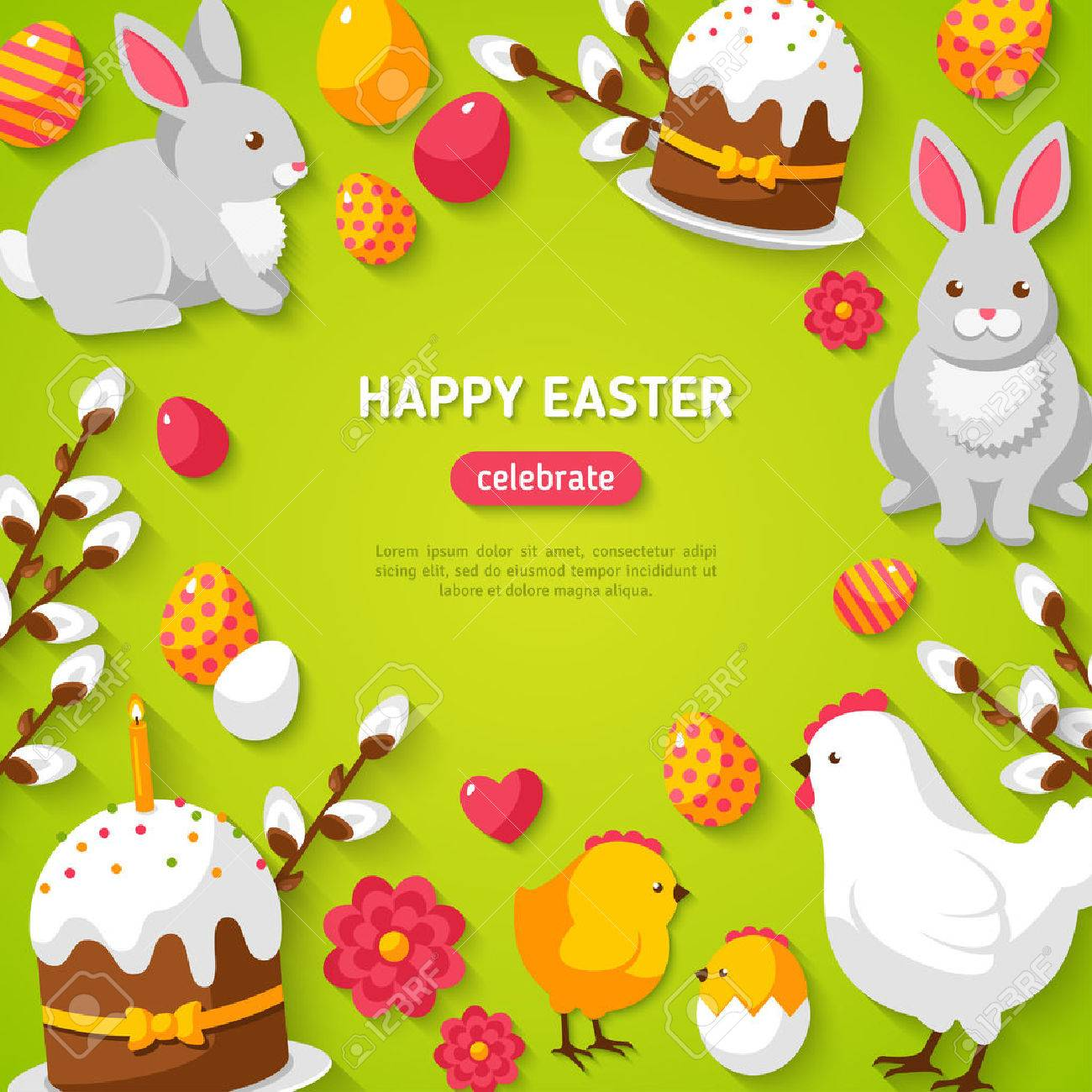 Happy Easter Green Background with Easter Symbols. Banque d'images - 51485011