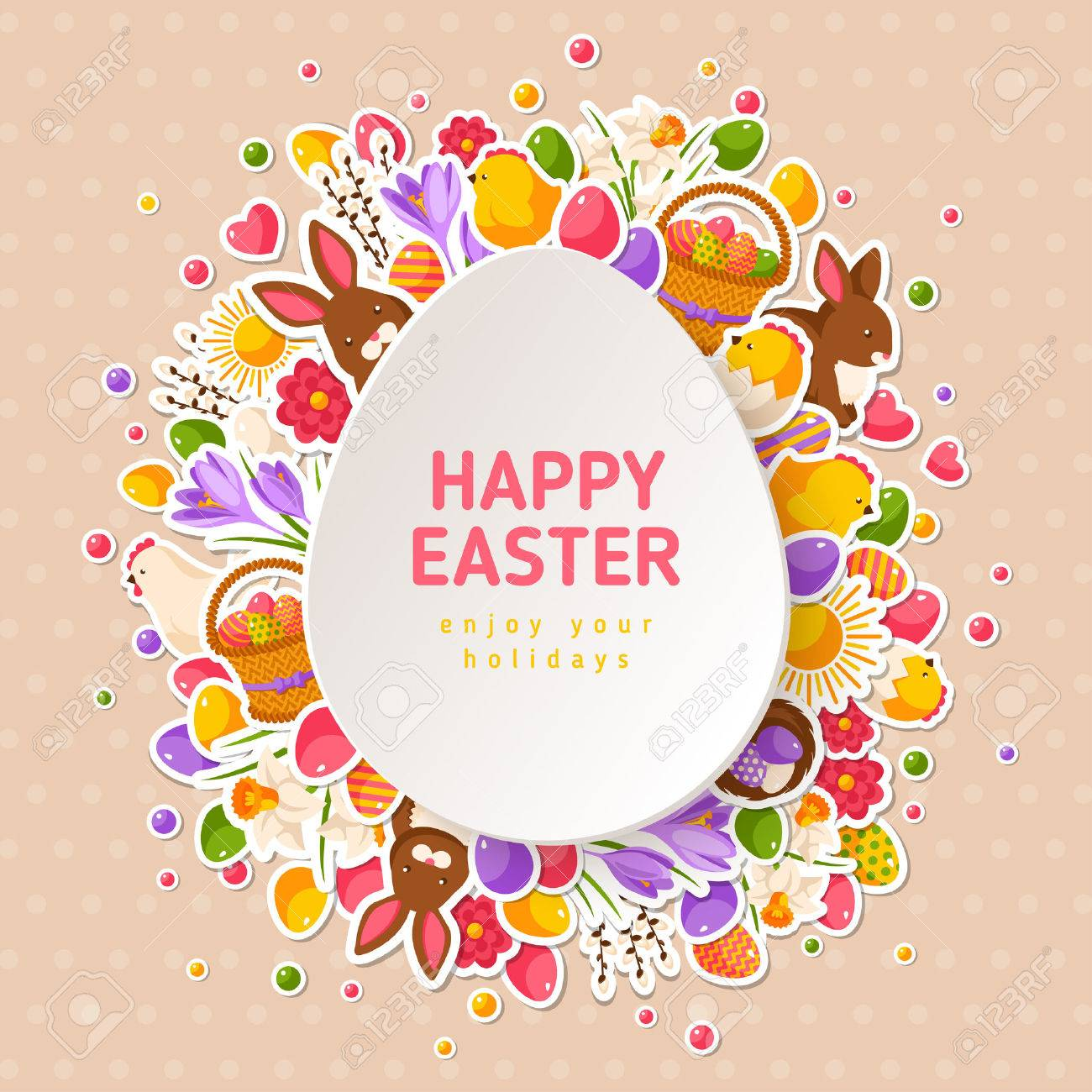 Happy Easter Greeting Cards With Paper Cut Easter Egg Vector