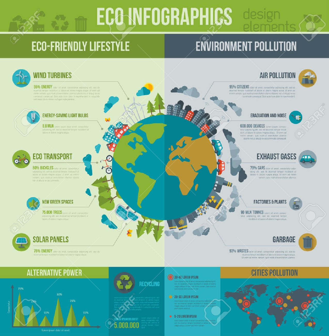 Ecology Infographics. Vector illustration. Environmental template with flat icons. Environmental protection and Pollution. Go green. Save the planet. Earth Day. Creative concept of Eco Technology. - 53902001