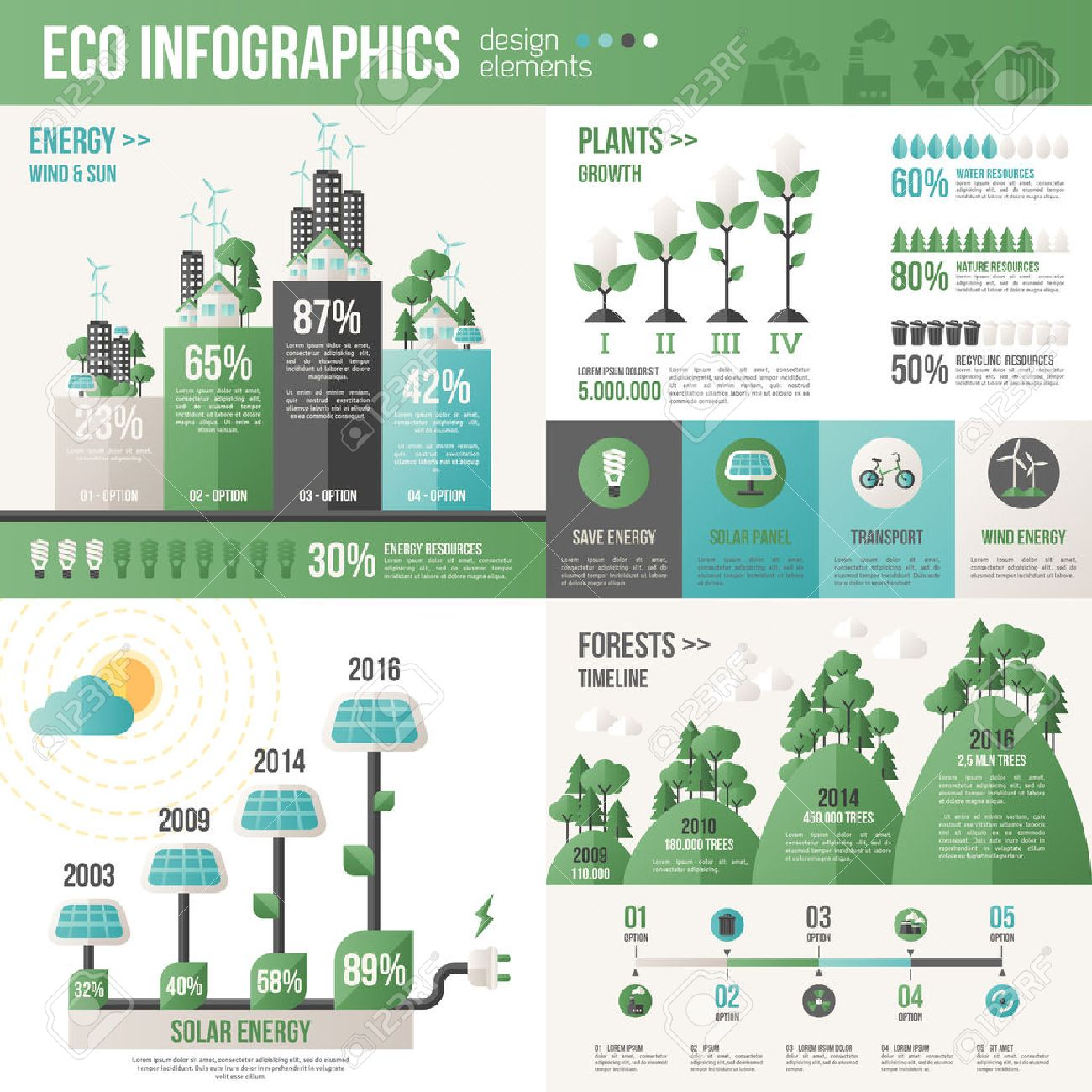 Ecology Infographics. Vector illustration. Environmental template with flat icons. Environmental protection and Pollution. Go green. Save the planet. Earth Day. Creative concept of Eco Technology. Standard-Bild - 53902012