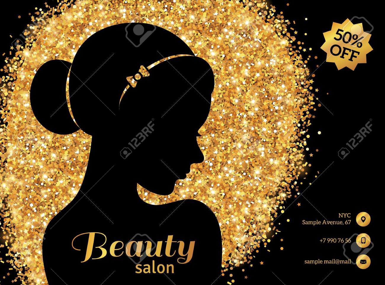 black and gold flyer template fashion woman with hair bun vector