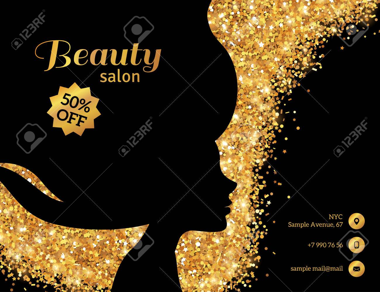 black and gold flyer template fashion woman with long hair