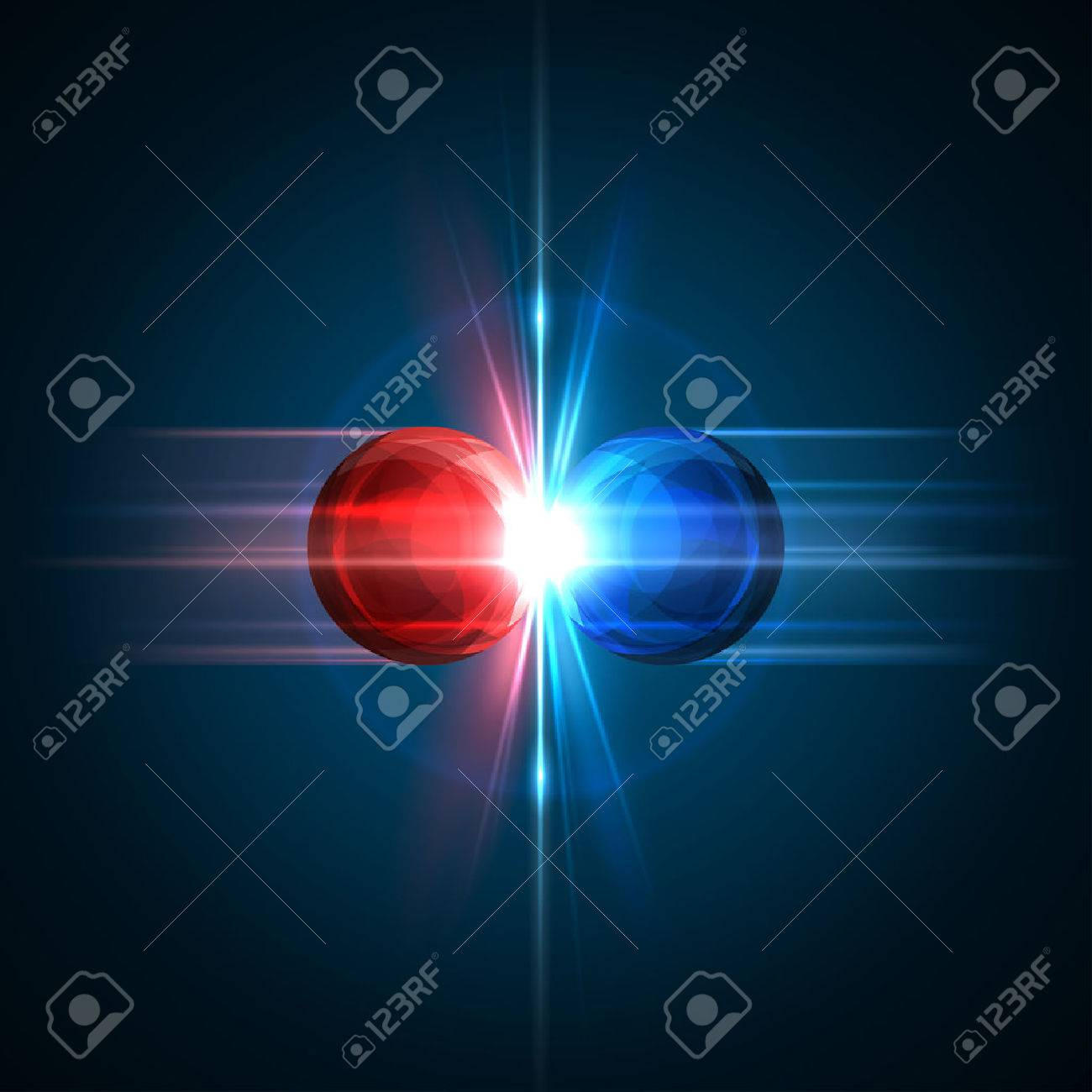 Frozen moment of two particles collision with red and blue light. Vector illustration. Explosion concept. Abstract molecules impact on black background. Atomic Power. Nuclear reactions concept. - 54940281