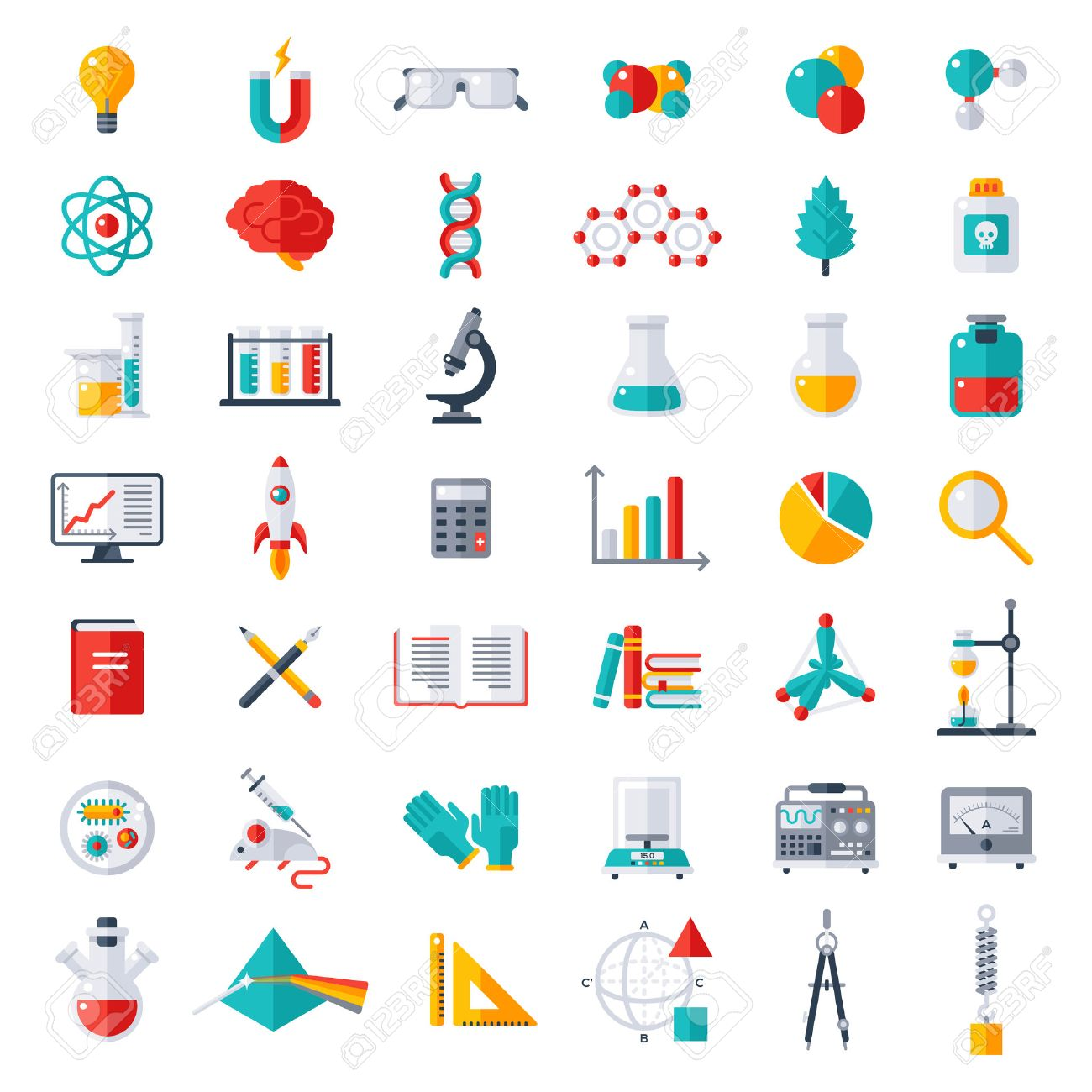 Physics, Chemistry and Biology, laboratory and science equipment Icons Set. Flat design vector illustration. Latex Gloves. Molecules, Data Analysis. Scientific Research. Chemical Experiment. - 55081711