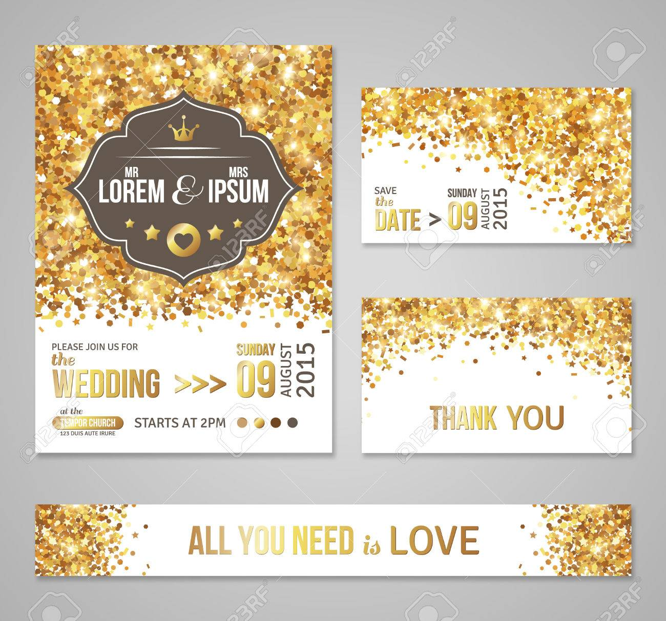 Set Of Wedding Invitation Cards Design Gold Confetti And White