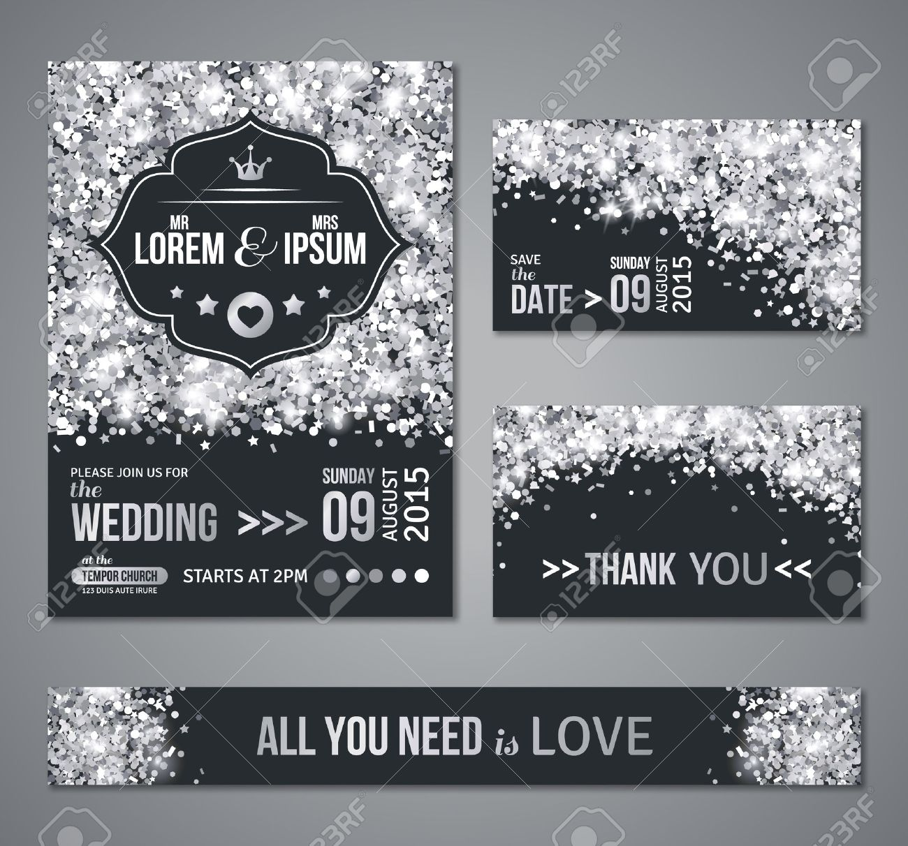 Set Of Wedding Invitation Cards Design Silver Confetti And Black Background Vector Illustration