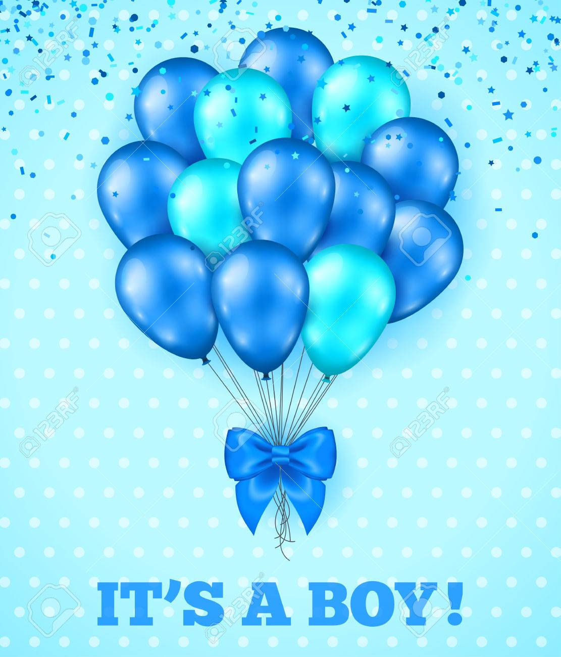 Its A Boy Baby Shower Background Vector Illustration Blue Cute Greeting Card With