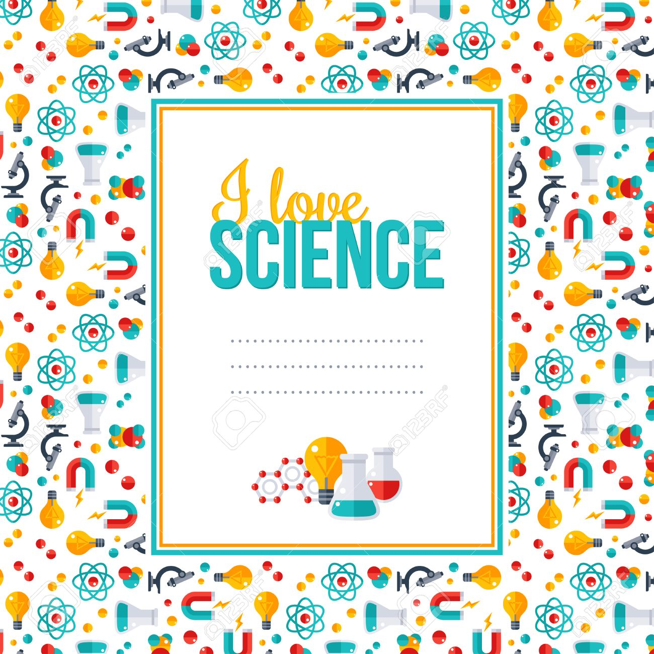 I Love Science Pattern With Square Frame Vector Illustration Back To School Background