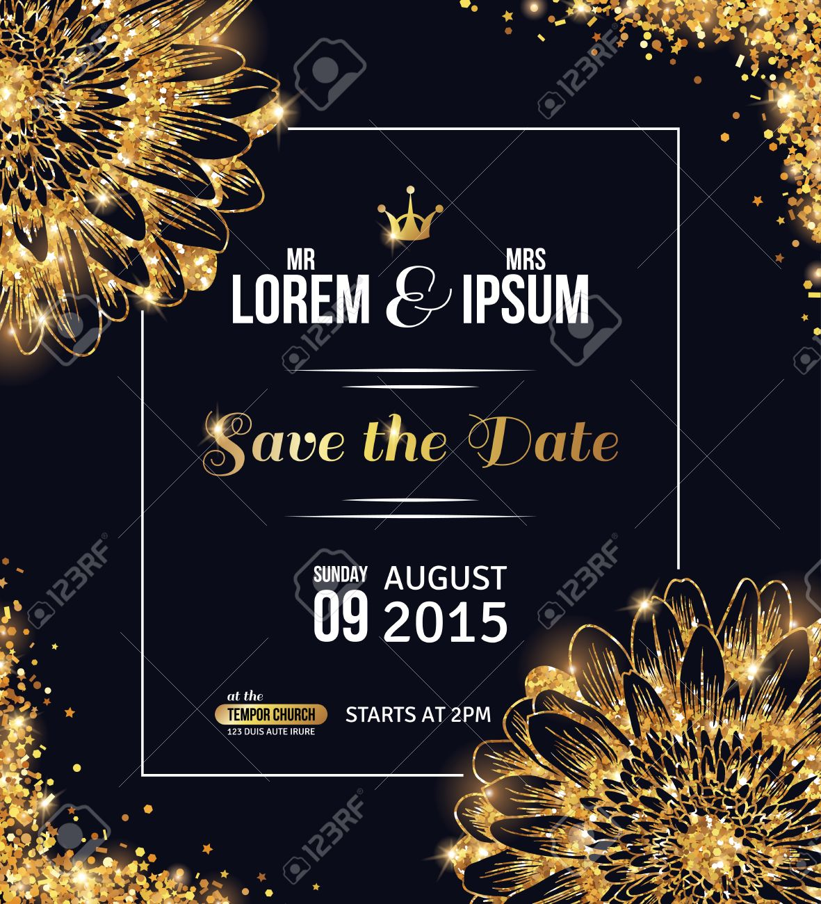 vector wedding invitation card design gold confetti with flowers and black background vector illustration save the date typographic template for your