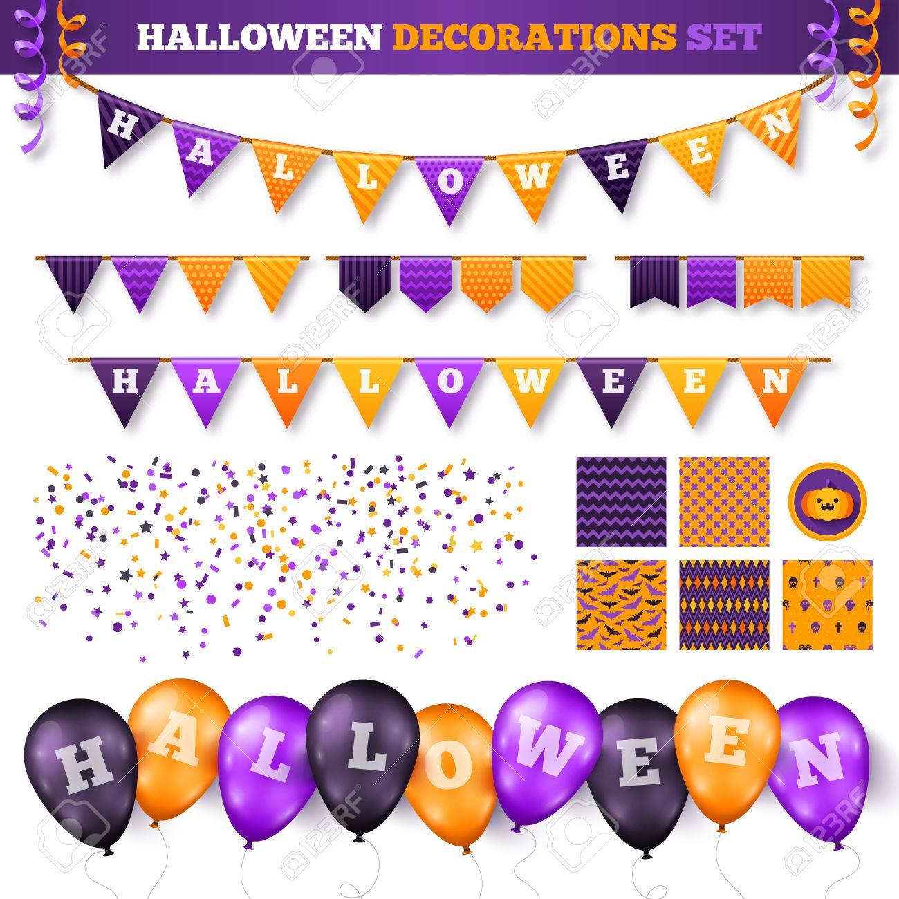 Decoración De Halloween 3D Conjunto Aislado En Blanco. Ilustración ...