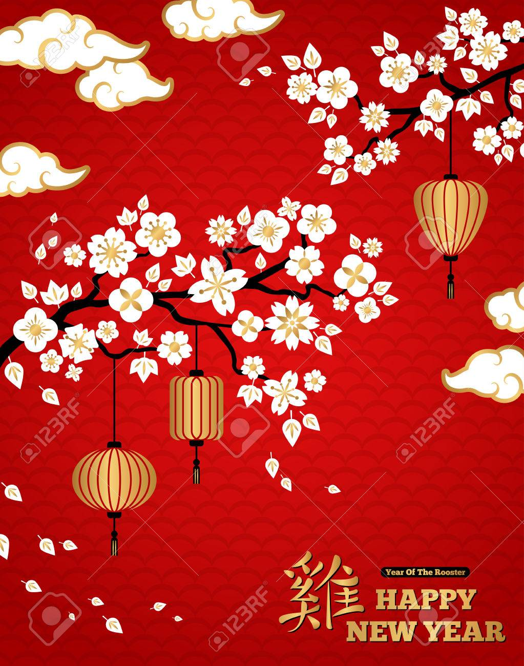 chinese new year background white blooming sakura branches on red backdrop illustration asian