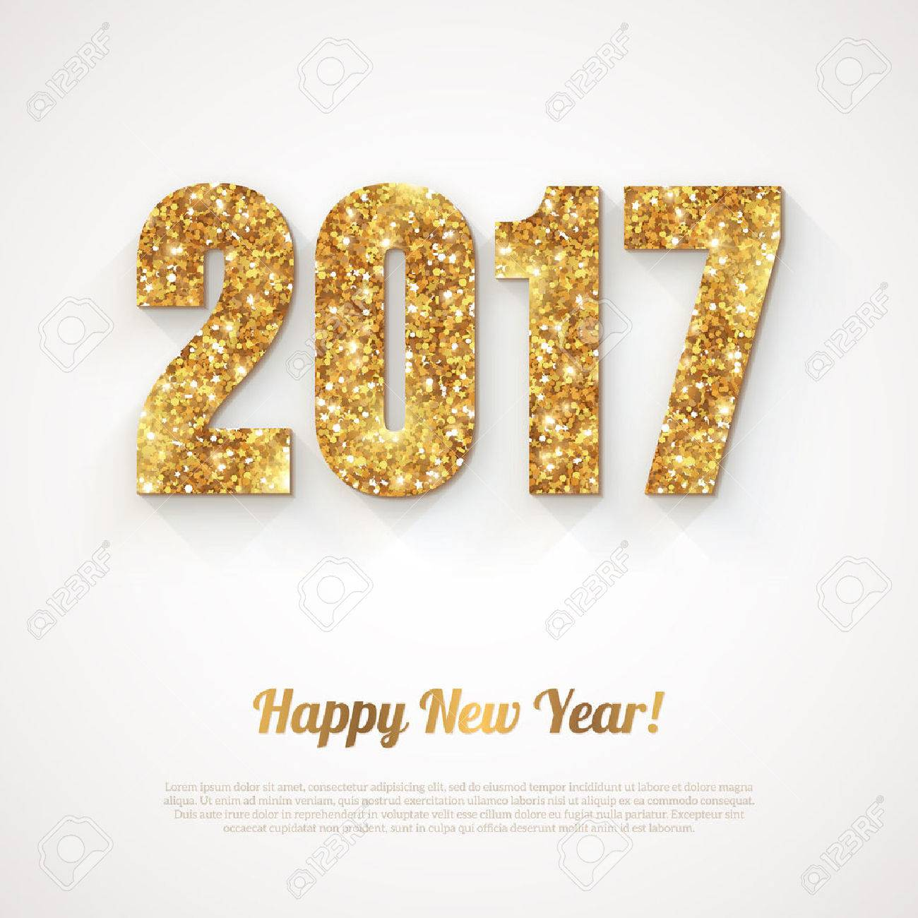 Happy New Year with 2017 Numbers on Bright Background. illustration. Gold Shining Pattern. - 63127007