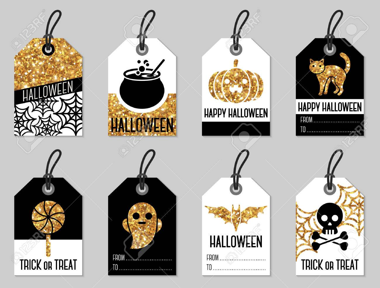Set Of Halloween Gift Tags Illustration Shining Gold Texture Royalty Free Cliparts Vectors And Stock Illustration Image 63127015