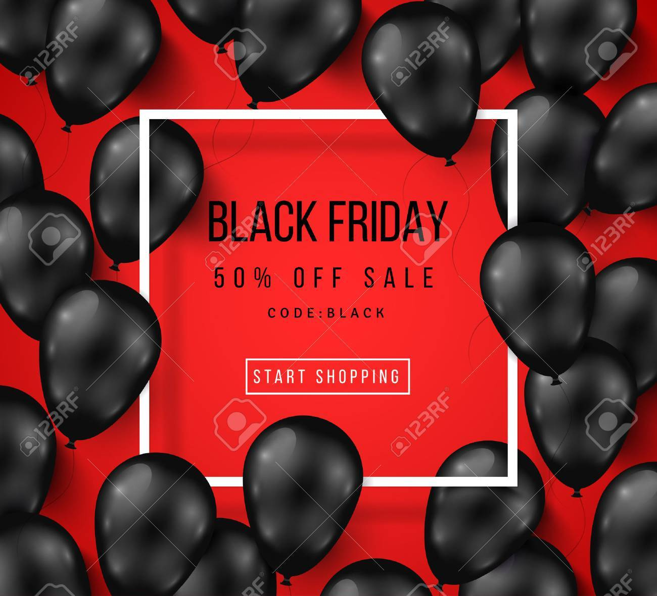 Black Friday Sale Poster with Shiny Balloons on Red Background with Square Frame. illustration. - 63127014
