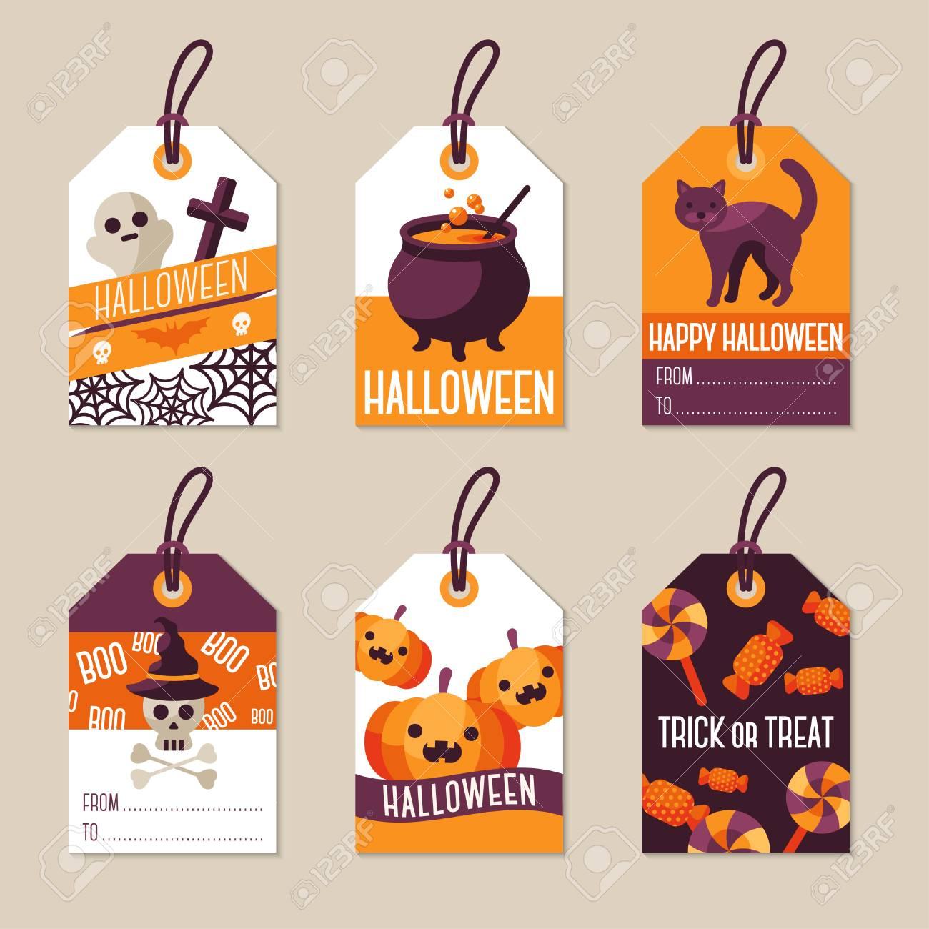 Halloween Gift Tags.Set Of Halloween Gift Tags Illustration Flat Holiday Symbols
