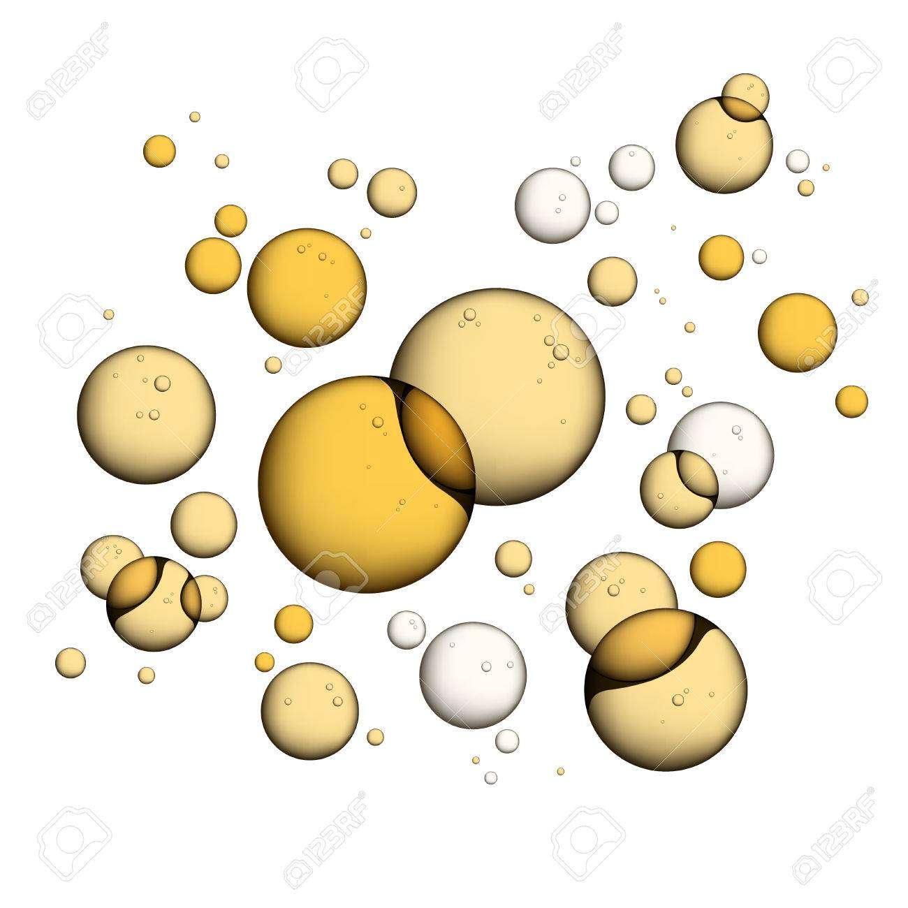Oil Bubbles Isolated on White Closeup Collagen Emulsion in Water. . Gold Serum Droplets. - 68480247
