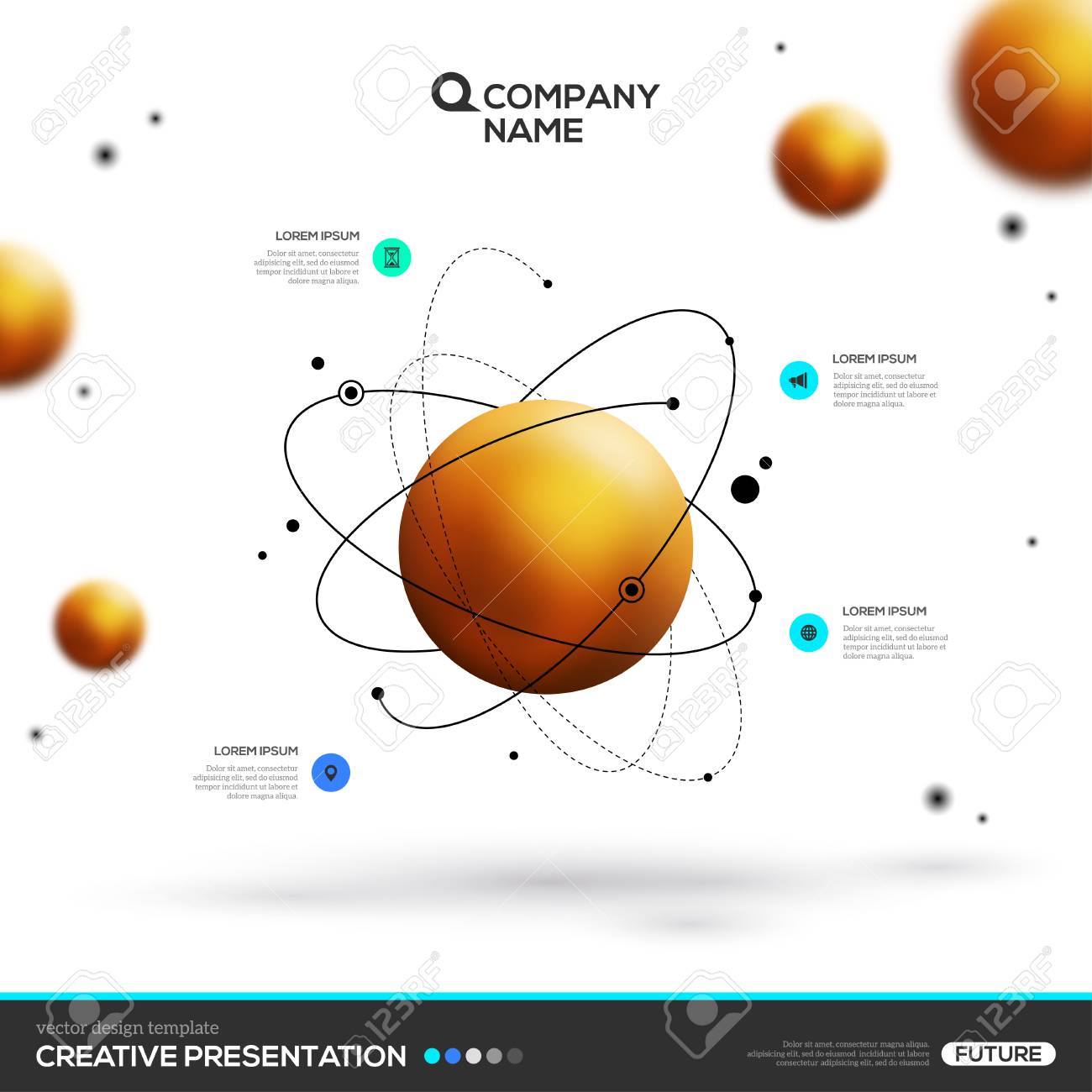 gold sphere particles and atomic structure stock vector - 79987415