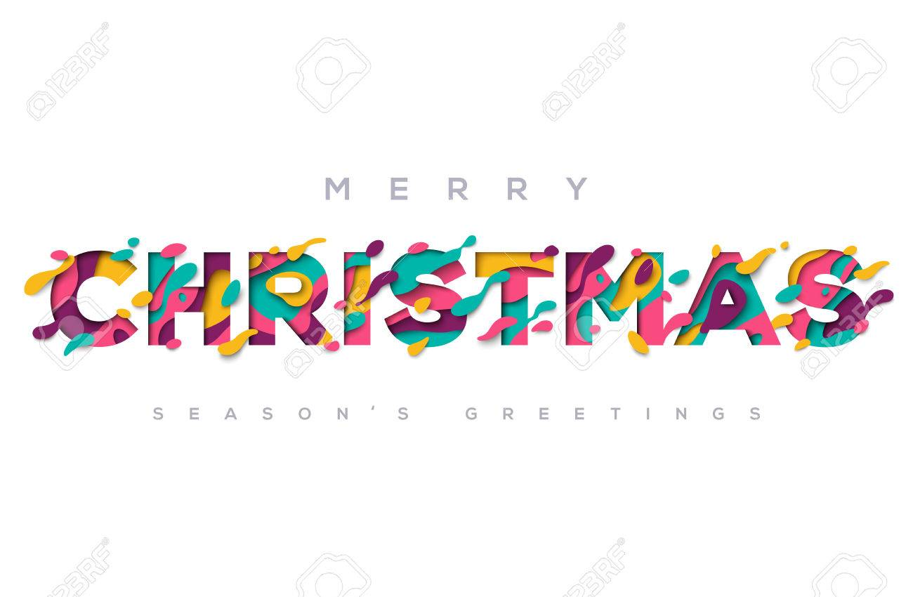 Merry Christmas Typography On White Background Royalty Free Cliparts ...