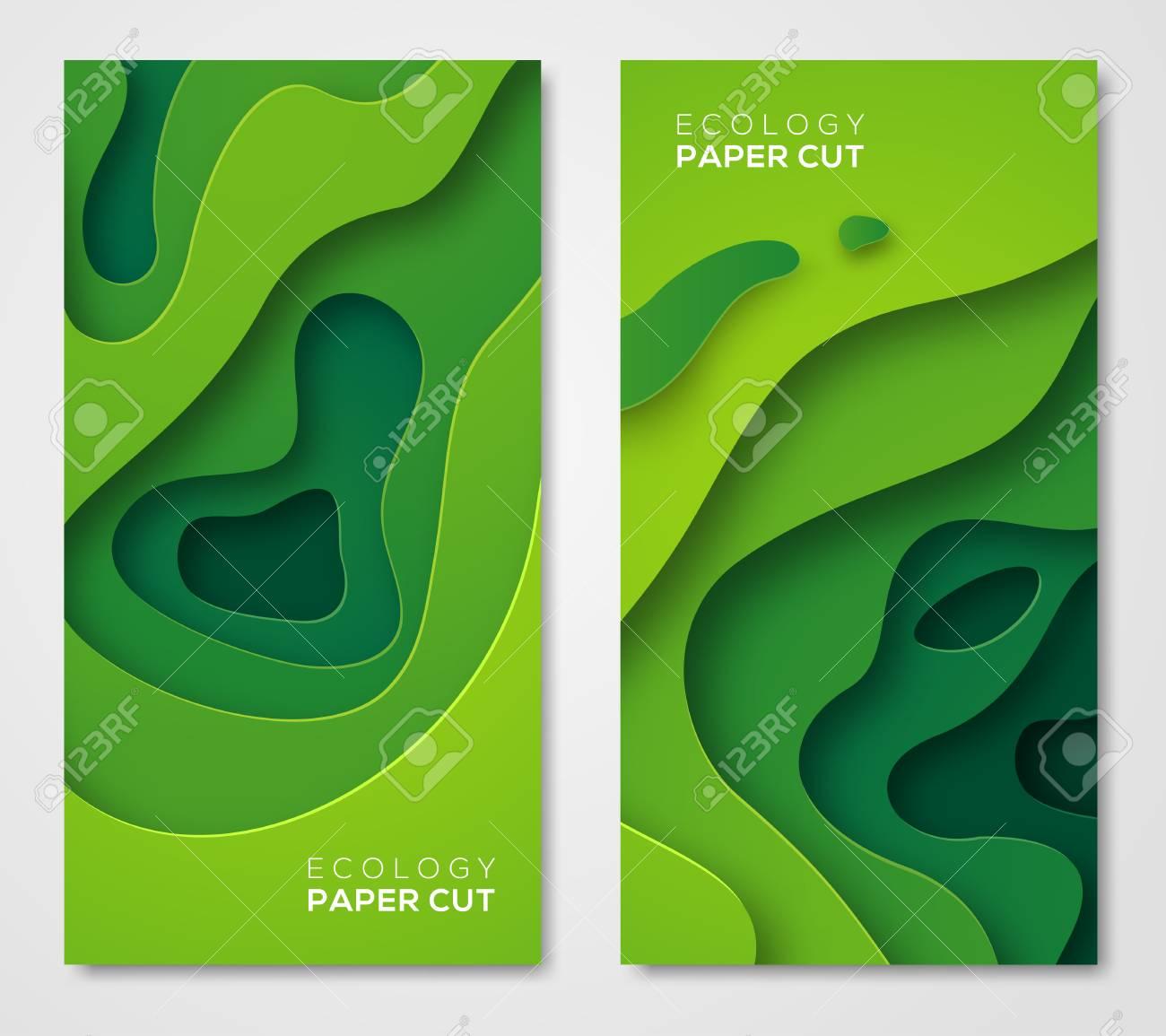 Vertical banners set, green paper cut shapes - 88535921