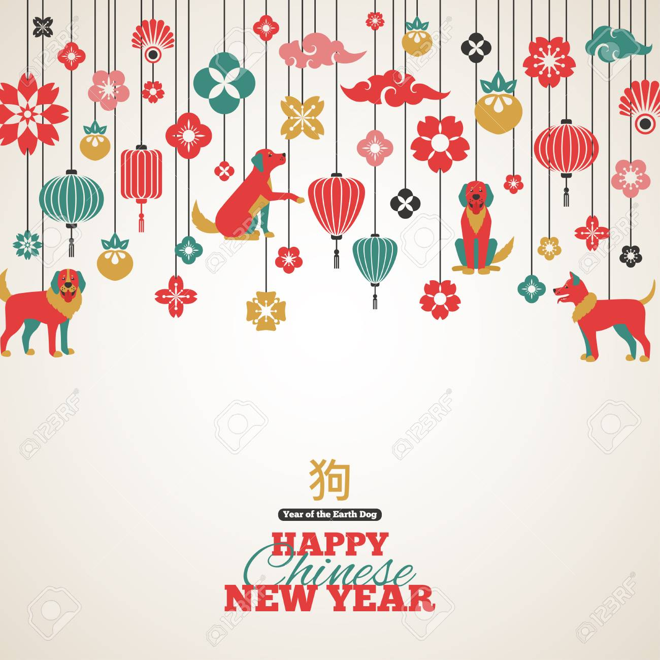 2018 Chinese New Year Greeting Card Royalty Free Cliparts, Vectors ...