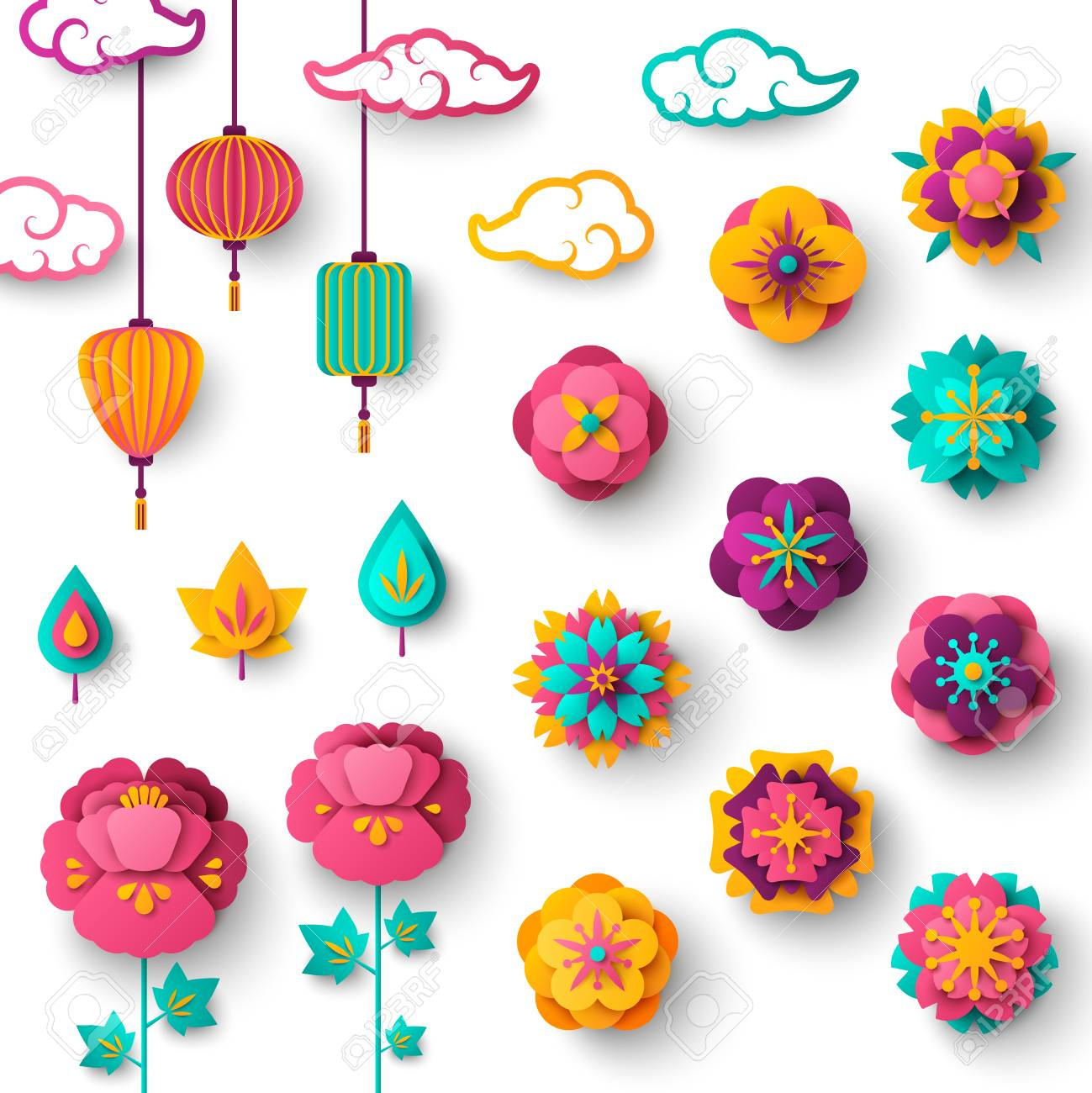 Chinese Decorative Icons Clouds, Flowers and Chinese Lanterns - 89177708