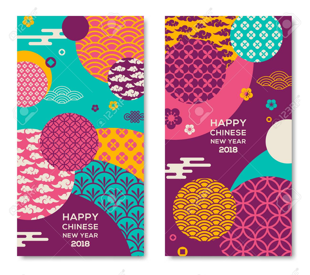 Vertical Banners Set with 2018 Chinese New Year Elements. Vector illustration. Asian Clouds and Patterns in Modern Style, geometric ornate shapes - 91044583