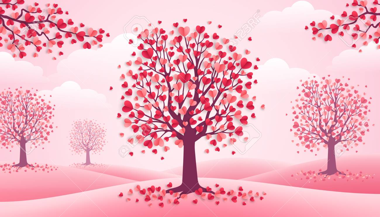 Happy Valentine's Day trees with heart shape leaves, pink landscape with clouds and hills. Vector illustration. Holiday design for greeting card, concept, gift voucher, invitation. Love growth - 94303105