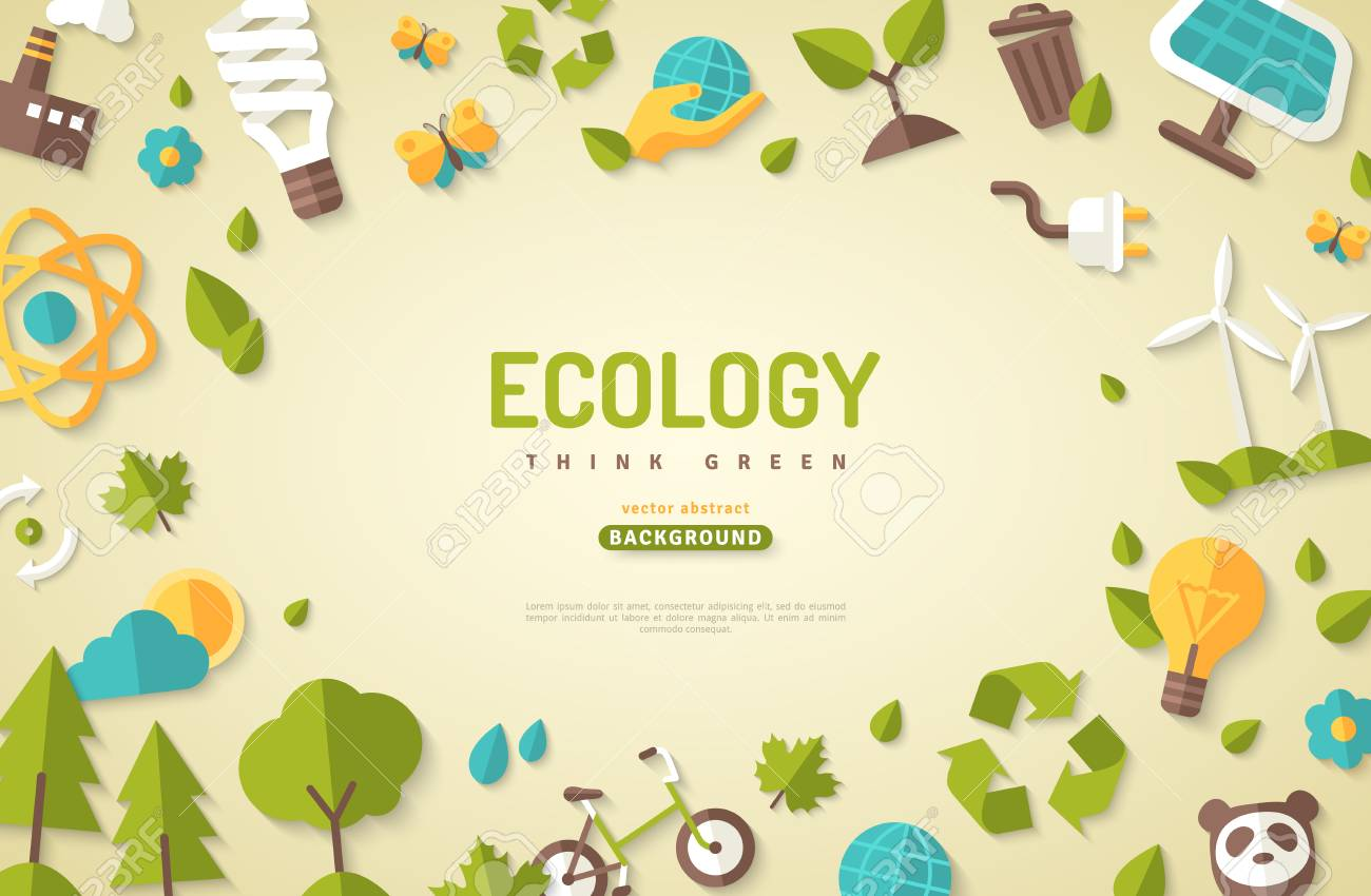 Environmental protection banner with nature elements and other related icons. - 98412535