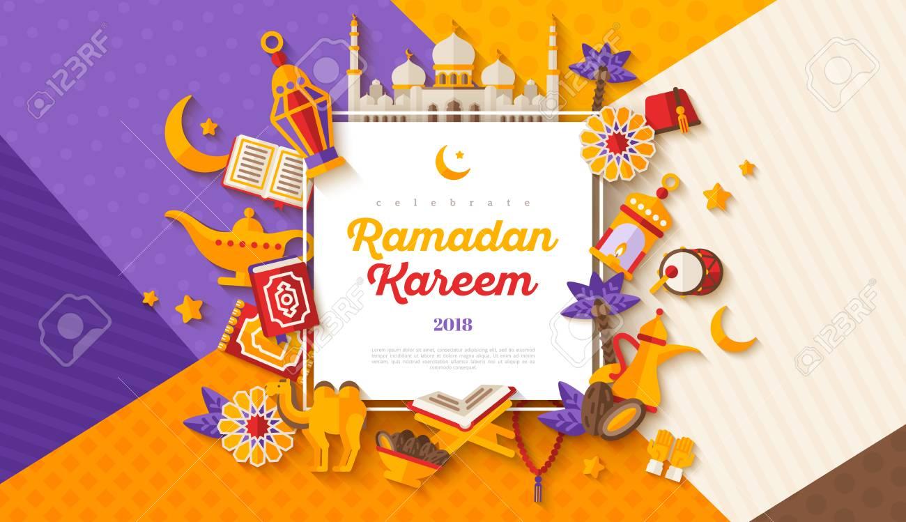 Ramadan Kareem concept horizontal banner with flat sticker icons on modern geometric background. Vector illustration. Eid Mubarak. Quran, Traditional Lanterns, Iftar food dates - 99323485