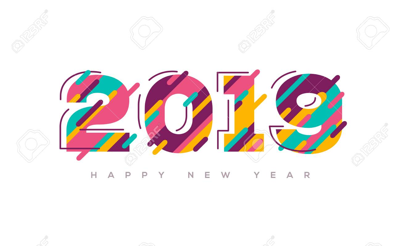 2019 Happy New Year Greeting Card With Abstract Colorful Numbers