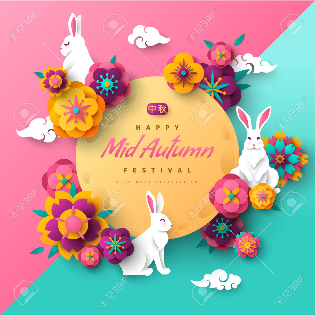 Mid autumn banner with rabbits - 102935659