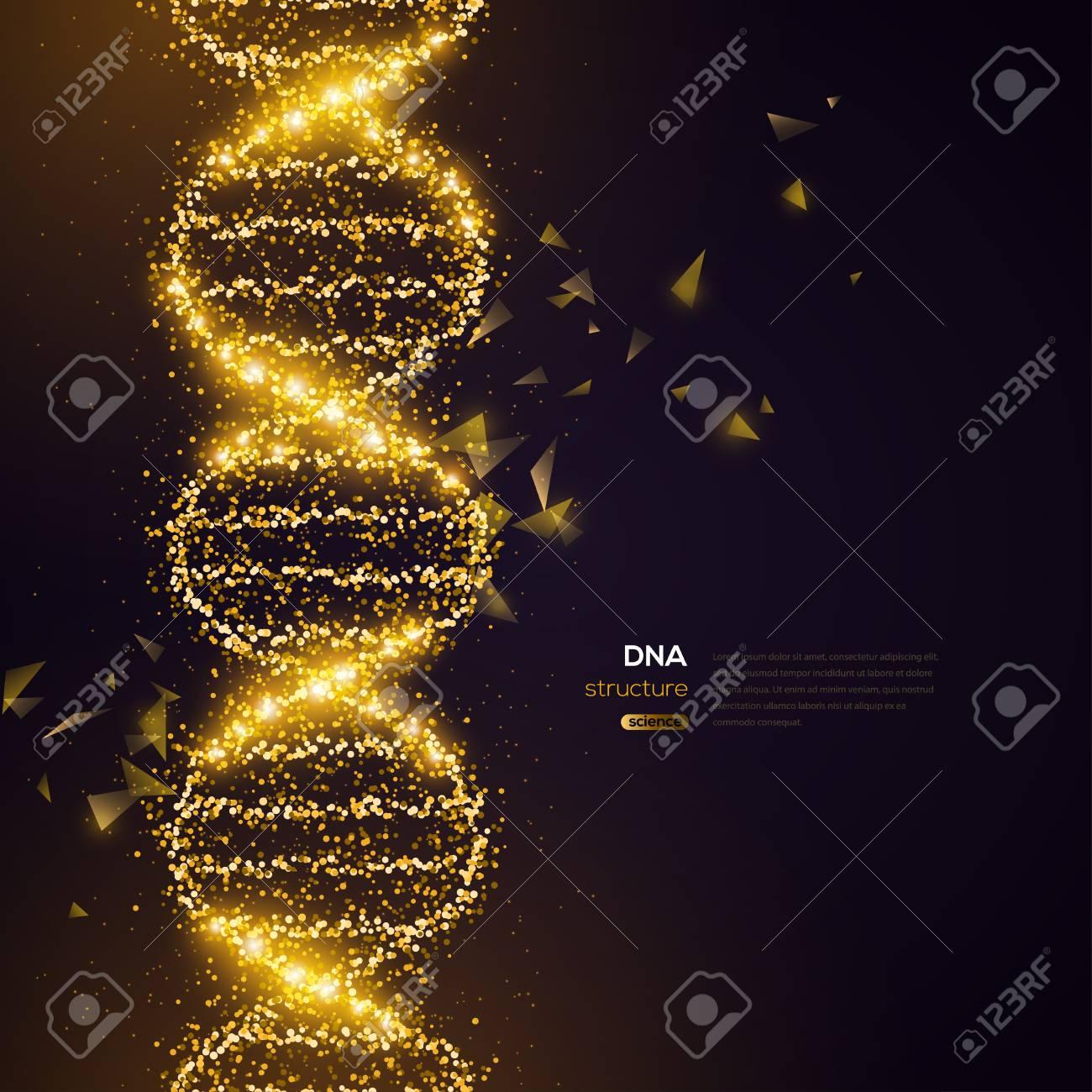 Gold DNA on Black Background - 104339798