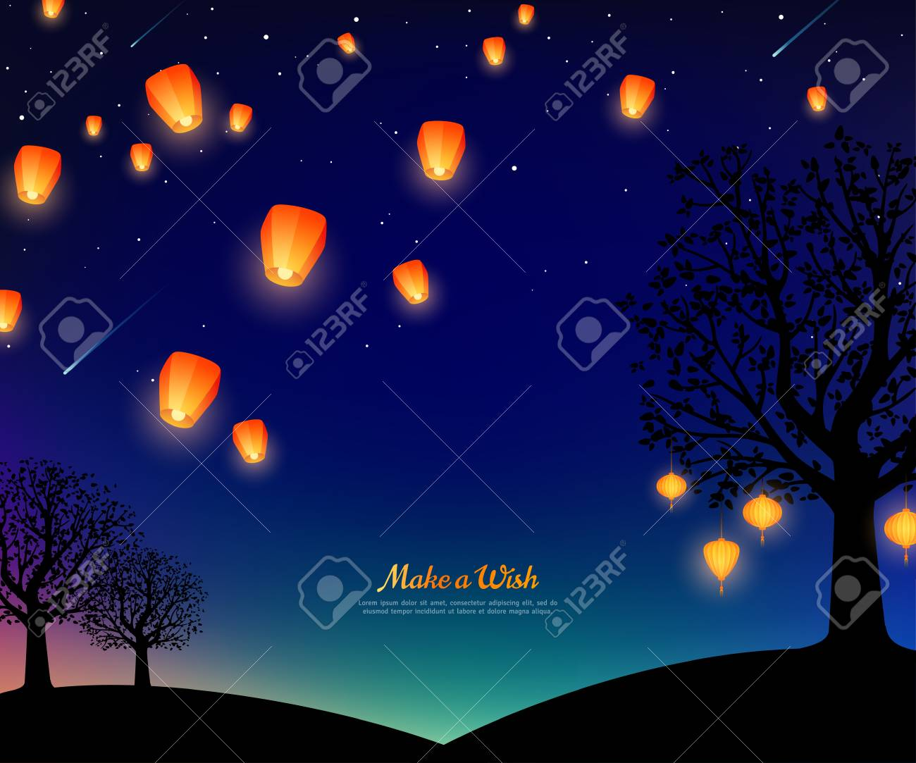 Landscape With Trees And Lanterns Floating At Night Starry Sky Royalty Free Cliparts Vectors And Stock Illustration Image 109790444