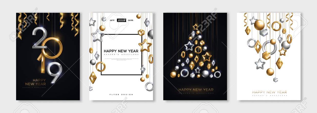 christmas and new year posters set with hanging gold and silver 3d baubles and 2019 numbers