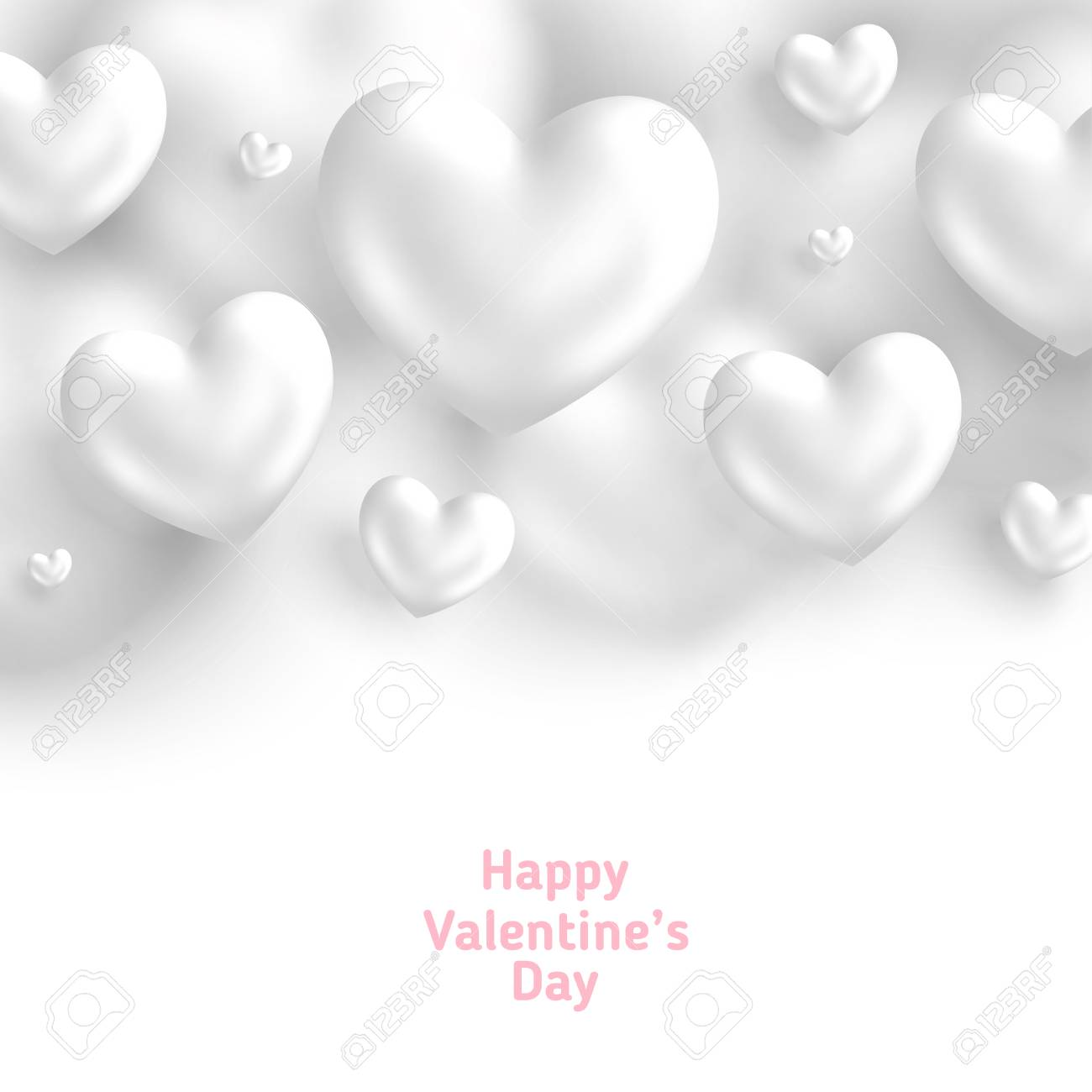 White Valentine S Day Background 3d Hearts On Bright Backdrop Royalty Free Cliparts Vectors And Stock Illustration Image 113563207