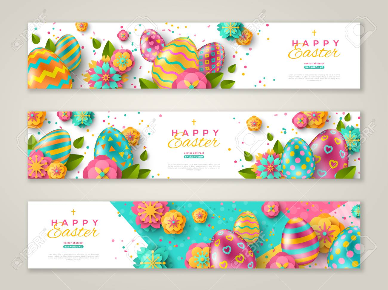 Easter horizontal banners with colorful ornate eggs, flowers and confetti. Vector illustration. Place for your text - 117009140