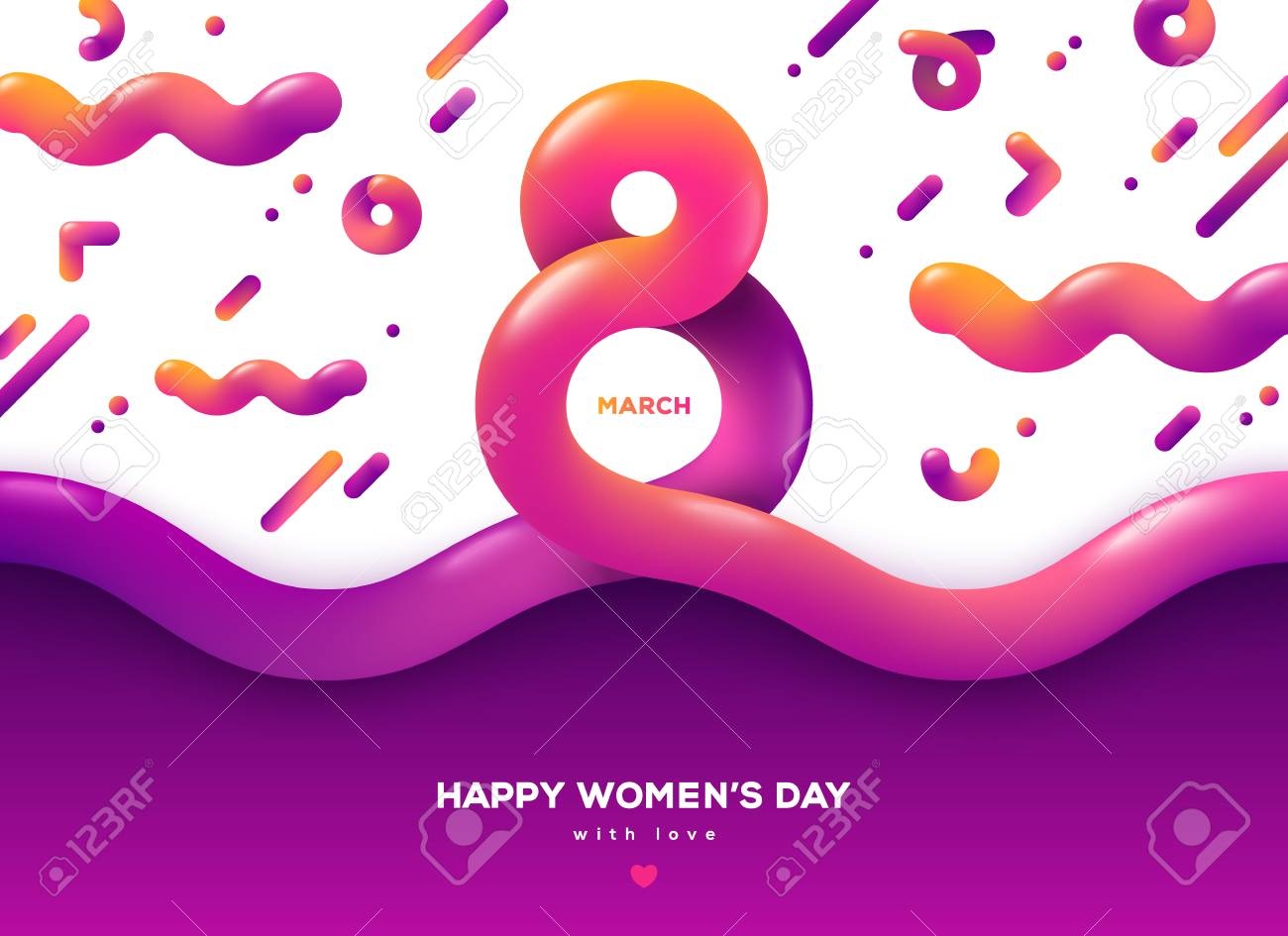 March 8 abstract fluid forms. International Womens day background. Trendy liquid 3d figure eight for greeting card, flyer or brochure template. Vector illustration. Place for text - 116712708