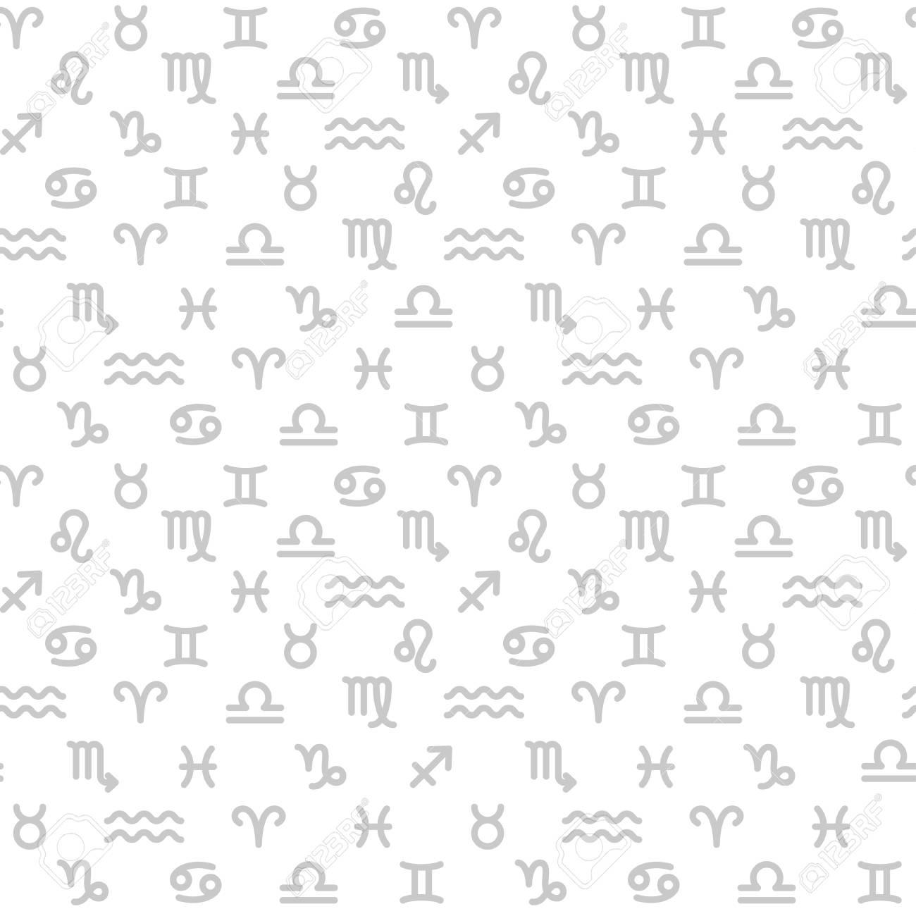 Zodiac monochrome seamless pattern - 119357536