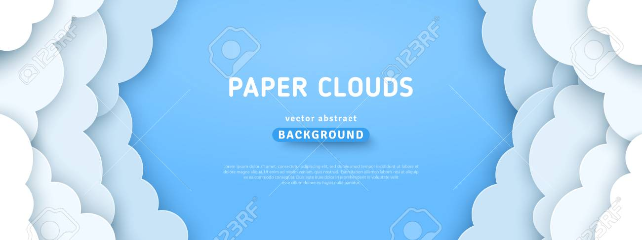 Beautiful fluffy clouds on blue sky background. Vector illustration. Paper cut style. Place for text - 124064517