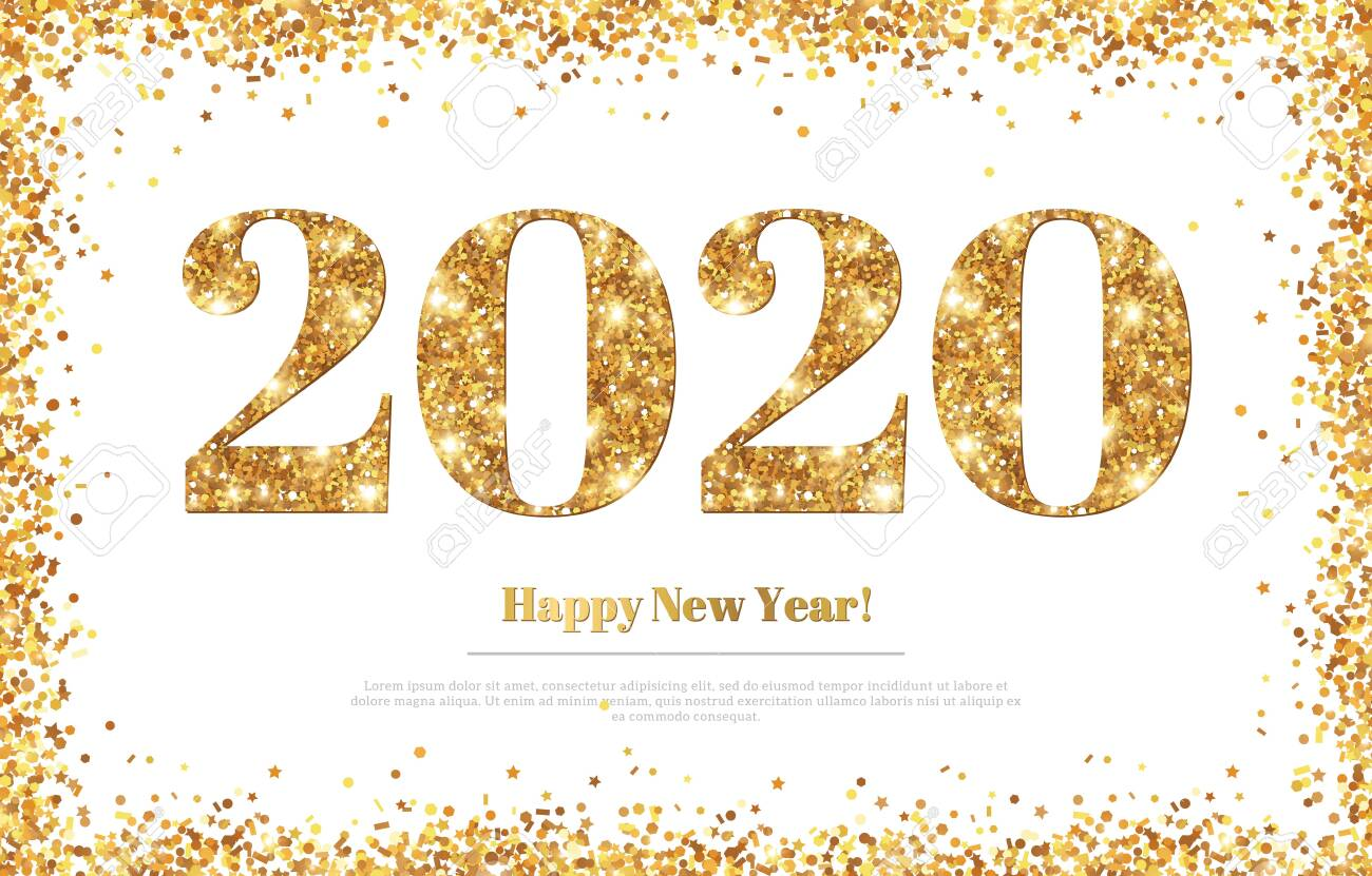 Happy New Year 2020 Greeting Card With Gold Numbers And Confetti