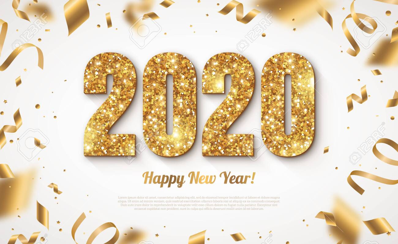Happy New Year Banner with Gold 2020 Numbers on Bright Background with Flying Confetti and Streamers. Vector illustration - 128168784