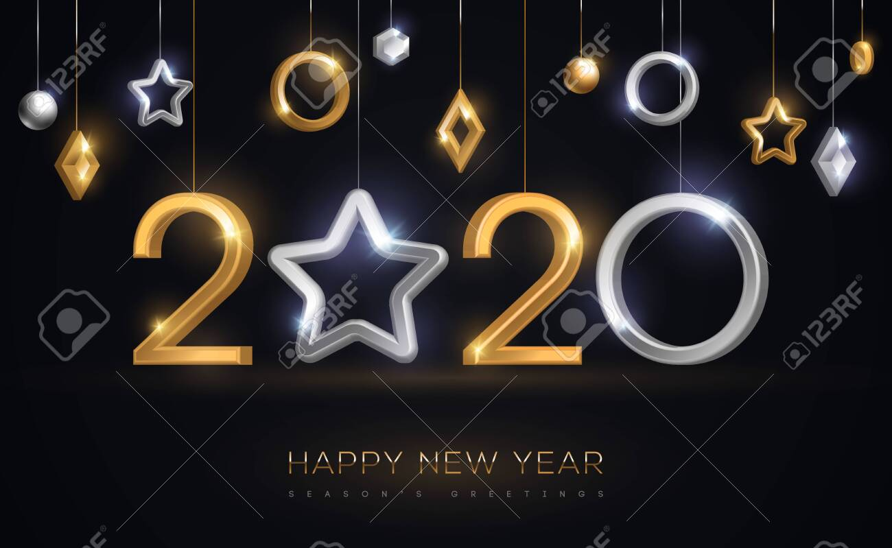 2020 New Year baubles with star - 127753107