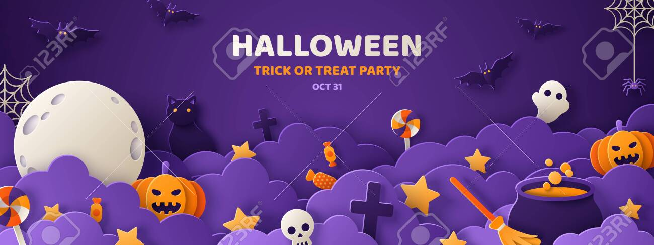 Happy Halloween banner or party invitation background with night clouds and pumpkins in paper cut style. Vector illustration. Full moon in the sky, spiders web and flying bats. Place for text - 128505006