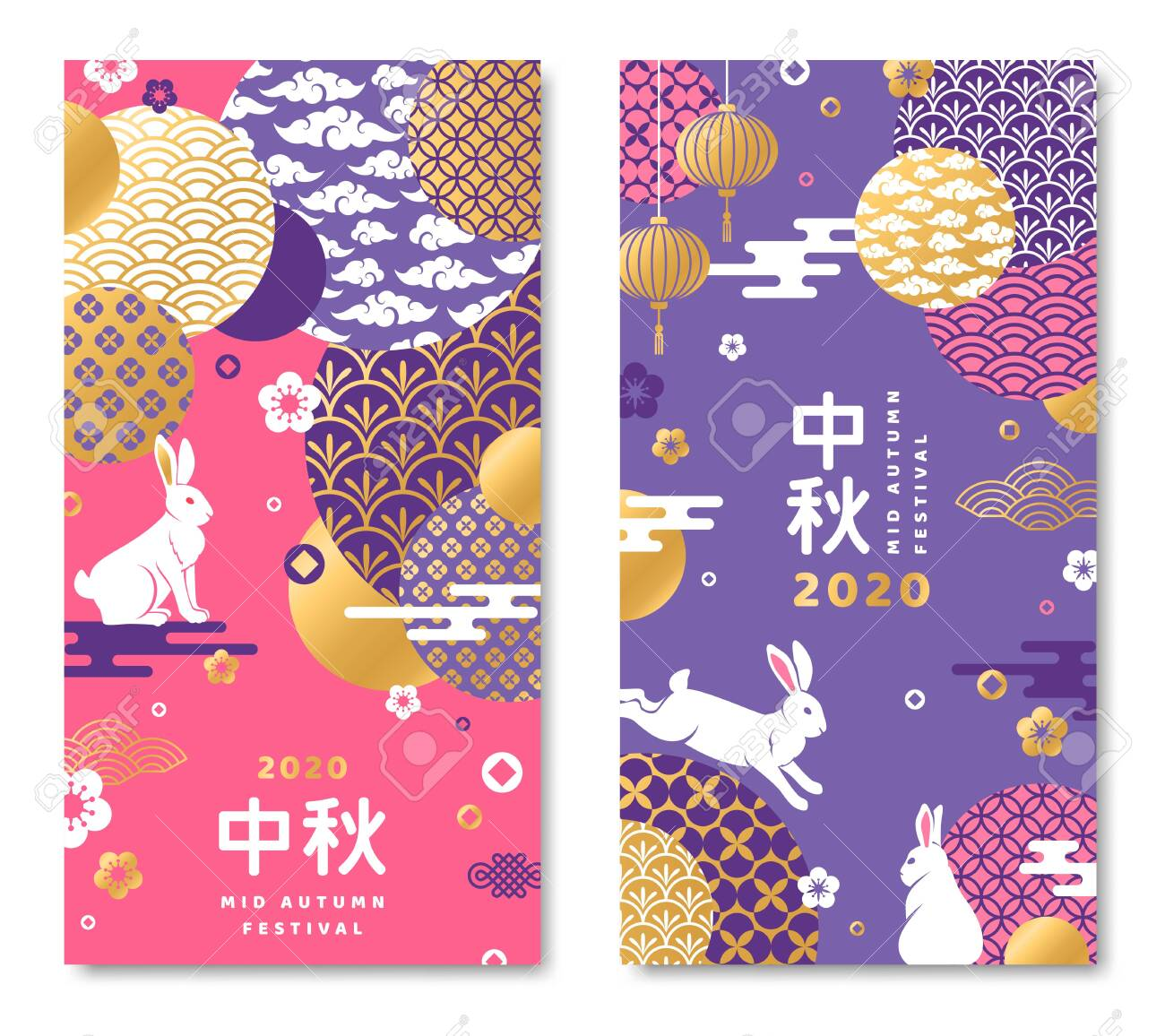 Chuseok festival two sides poster with moon, rabbits and flowers. Hieroglyph translation is Mid autumn. Vector illustration. - 129398294