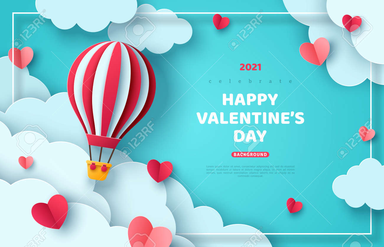 Hot air balloon floating in blue sky and paper cut clouds. Romantic adventure for honeymoon or wedding invitation design. Place for text. Happy Valentines day sale brochure template with cute hearts. - 159466353